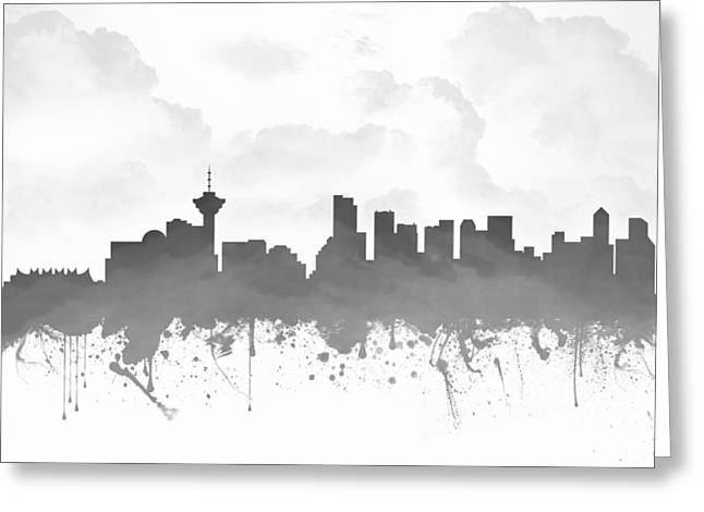 Vancouver Mixed Media Greeting Cards - Vancouver British Columbia Skyline - Gray 03 Greeting Card by Aged Pixel