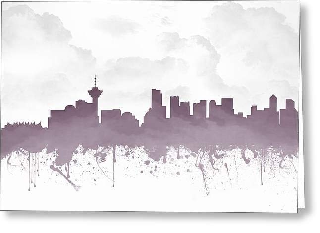 Vancouver Mixed Media Greeting Cards - Vancouver British Columbia Skyline - Purple 03 Greeting Card by Aged Pixel