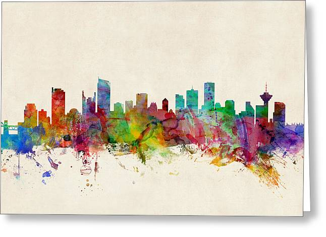 Canadian Greeting Cards - Vancouver Canada Skyline Greeting Card by Michael Tompsett