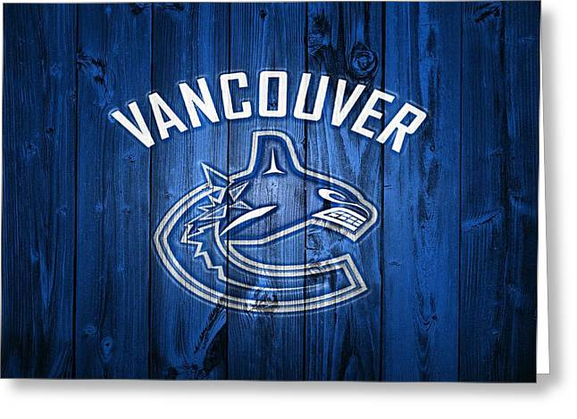 Vancouver Mixed Media Greeting Cards - Vancouver Canucks Barn Door Greeting Card by Dan Sproul