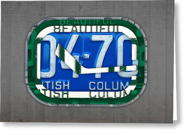 Vancouver Mixed Media Greeting Cards - Vancouver Canucks Hockey Team Retro Logo Vintage Recycled British Columbia Canada License Plate Art Greeting Card by Design Turnpike