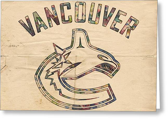 Hockey Helmet Greeting Cards - Vancouver Canucks Logo Art Greeting Card by Florian Rodarte