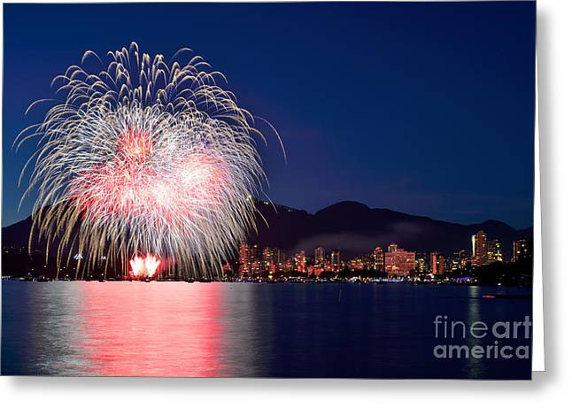 Lights Of Vancouver Greeting Cards - Vancouver Celebration Of Light Fireworks 2014 - France 1 Greeting Card by Terry Elniski