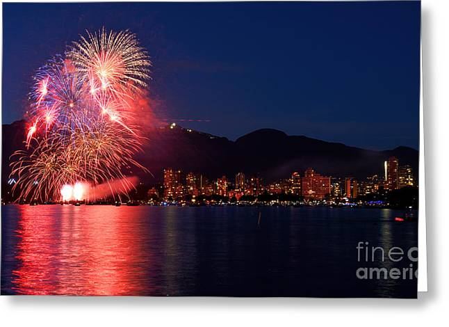 Lights Of Vancouver Greeting Cards - Vancouver Celebration Of Light Fireworks 2014 - France 2 Greeting Card by Terry Elniski