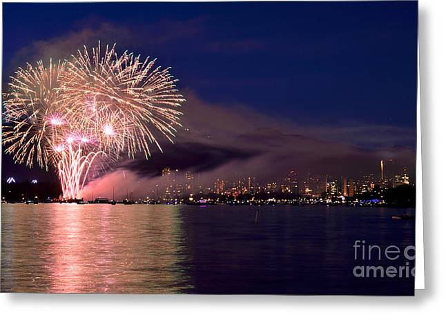 Lights Of Vancouver Greeting Cards - Vancouver Celebration Of Light Fireworks 2014 - France 3 Greeting Card by Terry Elniski