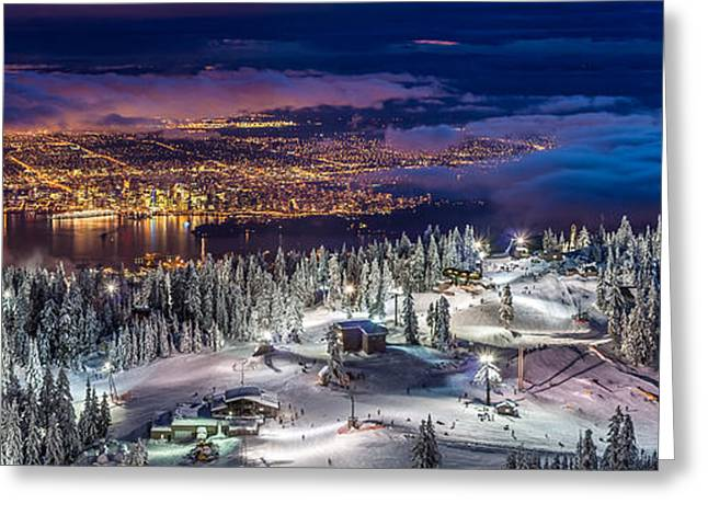 City Lights Greeting Cards - Vancouver City panorama from Grouse Mountain  Greeting Card by Pierre Leclerc Photography