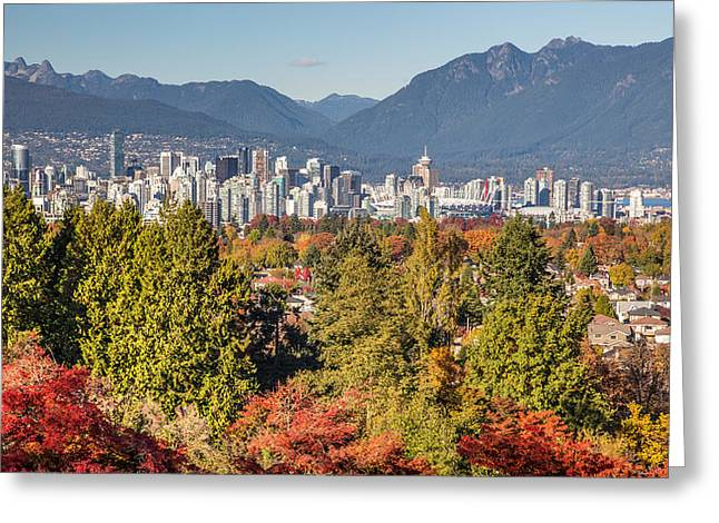 Vancouver Greeting Cards - Vancouver City showing its Autumn Colors Greeting Card by Pierre Leclerc Photography