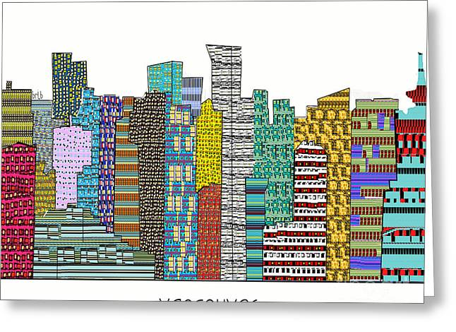 Vancouver Mixed Media Greeting Cards - Vancouver city skyline  Greeting Card by Bri Buckley
