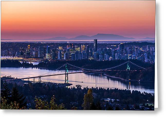 West Vancouver Greeting Cards - Vancouver City Sunrise Greeting Card by Pierre Leclerc Photography