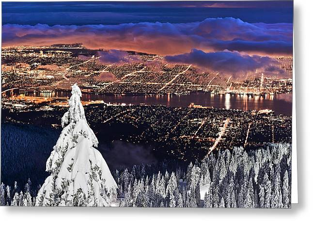Ski Place Greeting Cards - Vancouver City twilight from Grouse Mountain Greeting Card by Pierre Leclerc Photography