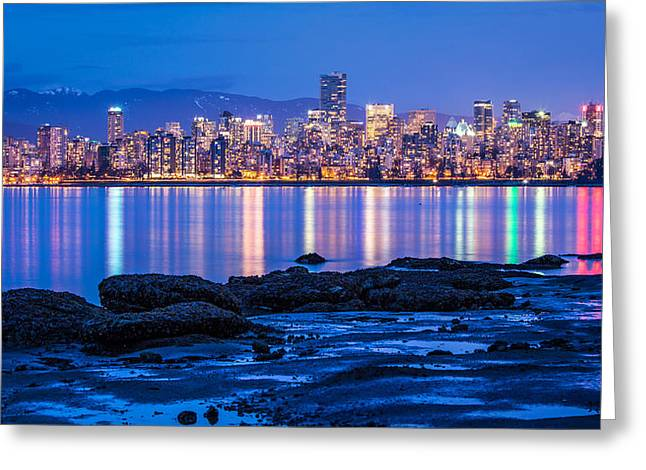 Lights Of Vancouver Greeting Cards - Vancouver city twilight from Jericho Beach Greeting Card by Pierre Leclerc Photography
