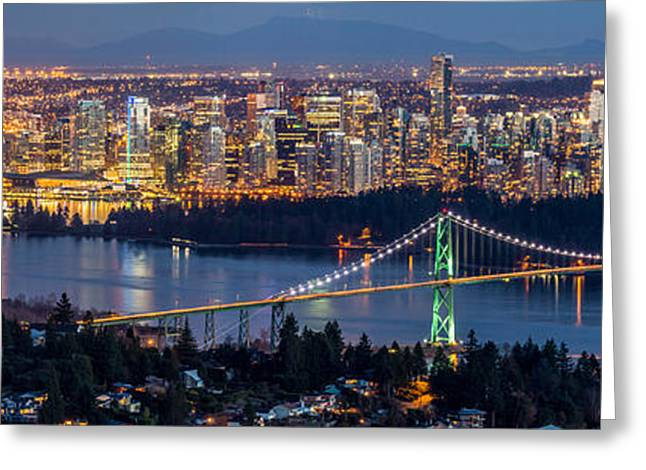 Burrard Inlet Greeting Cards - Vancouver city with Lions gate bridge at twilight Greeting Card by Pierre Leclerc Photography