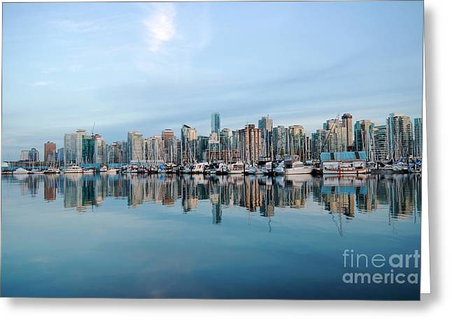 Vancouver Greeting Cards - Vancouver Coal Harbour Greeting Card by Charline Xia