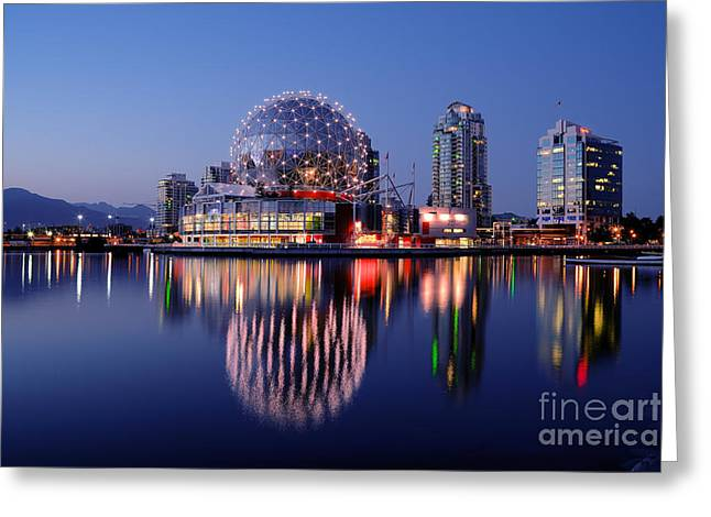 Telus Greeting Cards - Vancouver - False Creek At Dusk Greeting Card by Terry Elniski