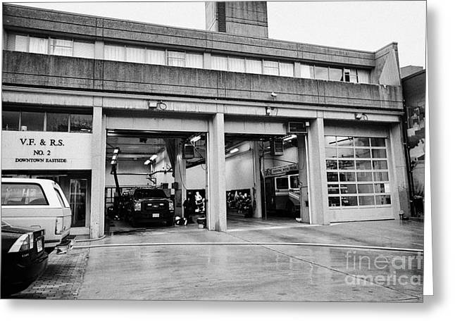 North Vancouver Greeting Cards - Vancouver fire rescue services hall 2 in downtown eastside BC Canada Greeting Card by Joe Fox