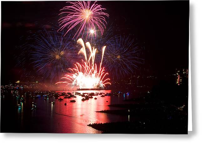 Lights Of Vancouver Greeting Cards - Vancouver Fireworks 1 Greeting Card by Terry Elniski