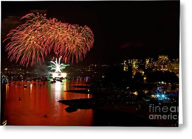 Lights Of Vancouver Greeting Cards - Vancouver Fireworks 3 Greeting Card by Terry Elniski