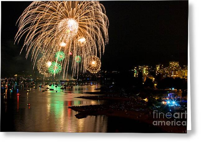 Lights Of Vancouver Greeting Cards - Vancouver Fireworks 6 Greeting Card by Terry Elniski