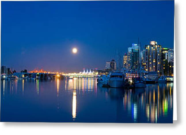 Moonrise Greeting Cards - Vancouver Harbour Moonrise 1 Greeting Card by Terry Elniski