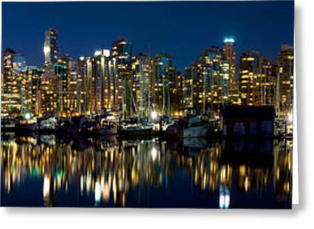 Moonrise Greeting Cards - Vancouver Harbour Moonrise 2 Greeting Card by Terry Elniski