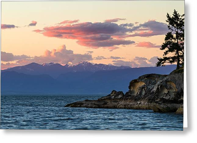 Vancouver Island Sunset Greeting Card by Michael Russell