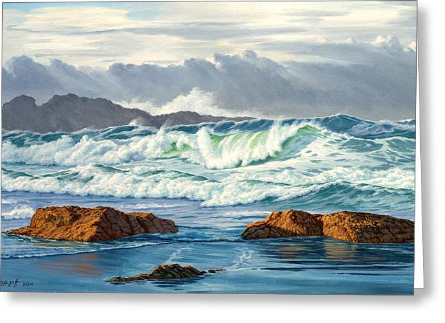 Pacific Greeting Cards - Vancouver Island Surf Greeting Card by Paul Krapf