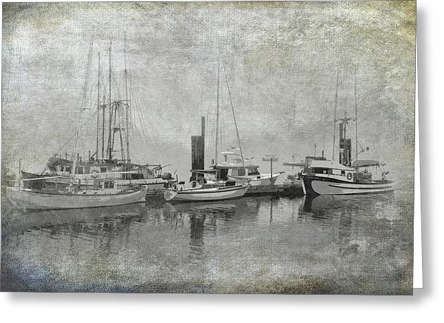 Sailboat Art Greeting Cards - Vancouver Island with Sailboats and Fishing Boats in a Misty Harbor Greeting Card by Randall Nyhof