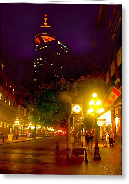 Vancouver Mixed Media Greeting Cards - Vancouver Night Lights - Steam Clock in Gastown  Greeting Card by Alex Khomoutov