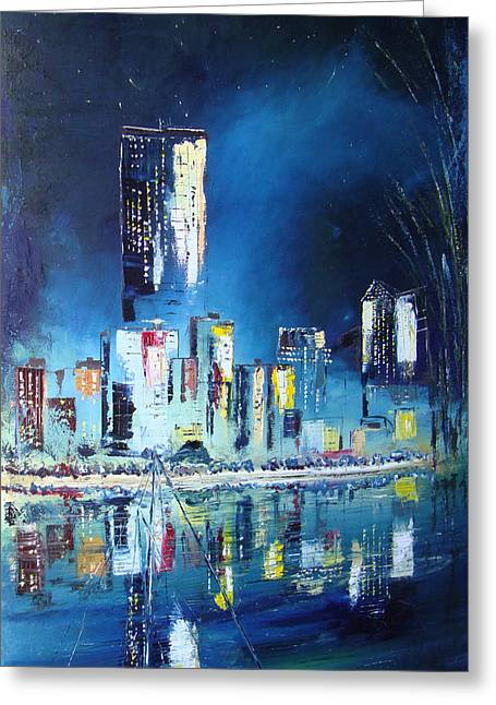 Vancouver At Night Greeting Cards - Vancouver Night 4 Greeting Card by Martin Ruygrok