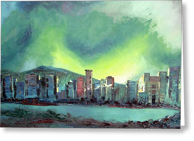 Vancouver At Night Greeting Cards - Vancouver Night Greeting Card by Martin Ruygrok