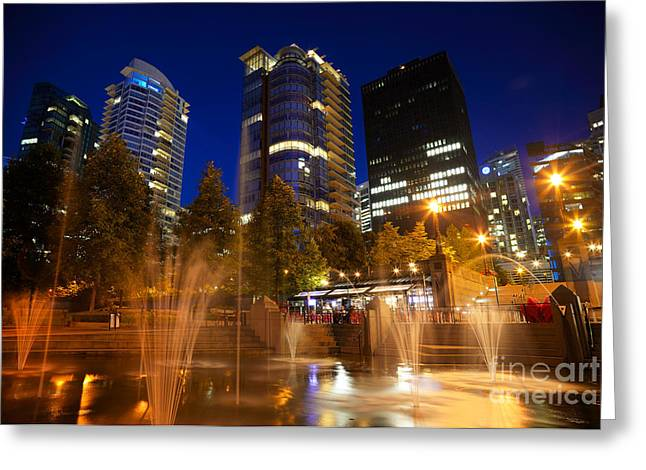 Vancouver At Night Greeting Cards - Vancouver Night Time Greeting Card by Terry Elniski