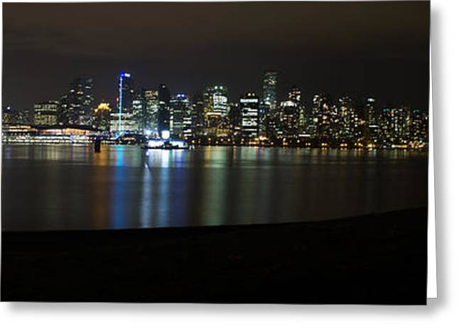 Vancouver At Night Greeting Cards - Vancouver Panorama at Night Greeting Card by Jeremy Oberg