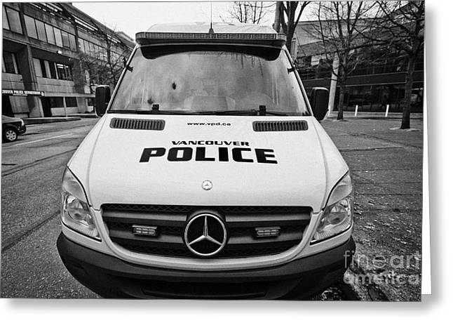 North Vancouver Greeting Cards - Vancouver police mercedes response van vehicle BC Canada Greeting Card by Joe Fox