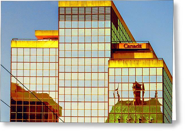 Geometric Digital Art Photographs Greeting Cards - Vancouver Reflections No 2 Greeting Card by Ben and Raisa Gertsberg