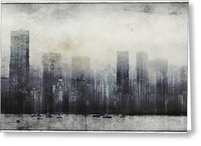 Vancouver Mixed Media Greeting Cards - Vancouver Skyline Abstract 1 Greeting Card by Peter v Quenter