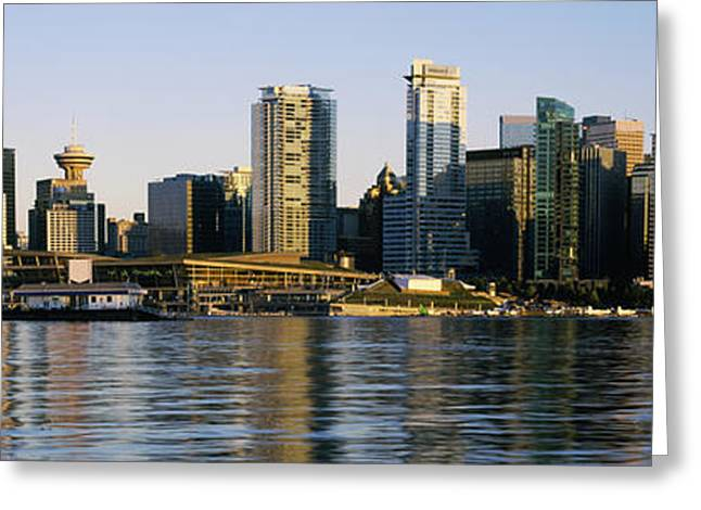 Vancouver Skyline Panorama Greeting Cards - Vancouver Skyline At Dusk, British Greeting Card by Panoramic Images