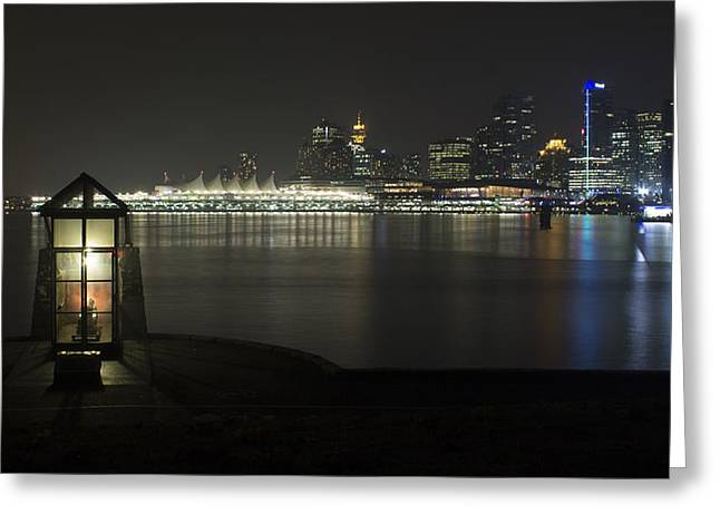 Vancouver At Night Greeting Cards - Vancouver Skyline at Night 2 Greeting Card by Jeremy Oberg