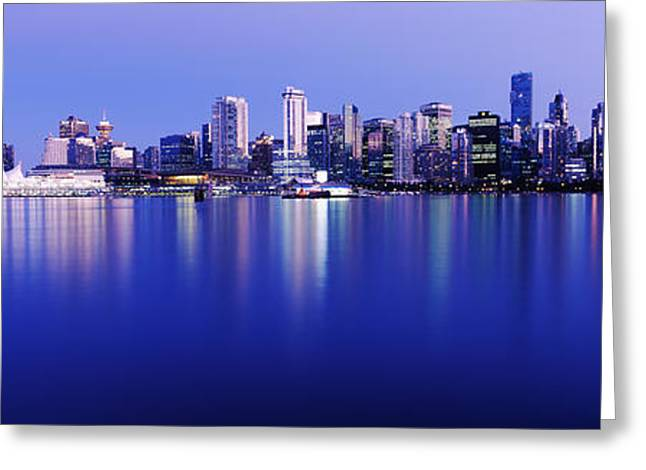 Vancouver Night Scene Greeting Cards - Vancouver Skyline At Night, British Greeting Card by Panoramic Images