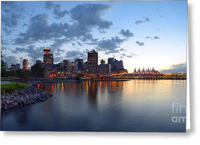 Vancouver Skyline Panorama Greeting Cards - Vancouver Skyline From Crab Park At Portside Greeting Card by Terry Elniski