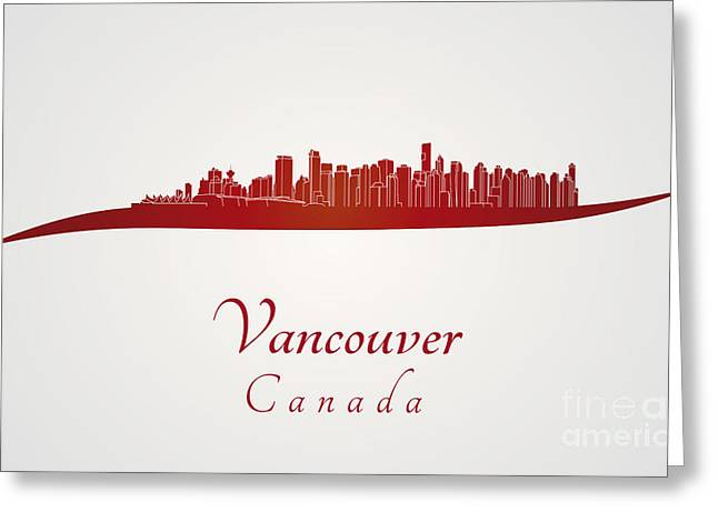 Vancouver Skyline In Red Greeting Card by Pablo Romero