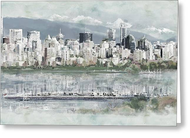 Beach View Greeting Cards - Vancouver Skyline Greeting Card by Maryam Mughal