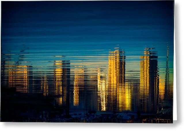 Buildings Reflecting In Water Greeting Cards - Vancouver Skyline reflection Greeting Card by Peter v Quenter