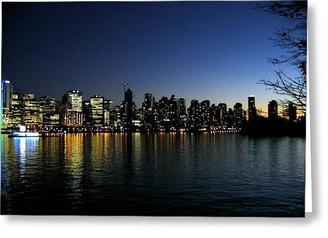 Stanley Park Greeting Cards - Vancouver Skyline Greeting Card by Will Borden