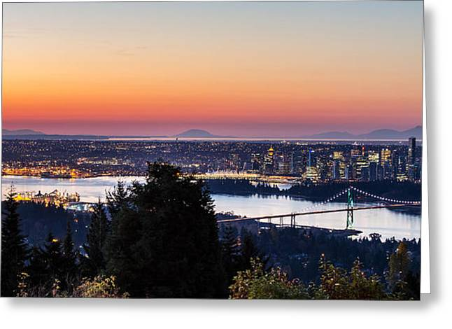 Burrard Inlet Greeting Cards - Vancouver Sunrise British Columbia Greeting Card by Pierre Leclerc Photography