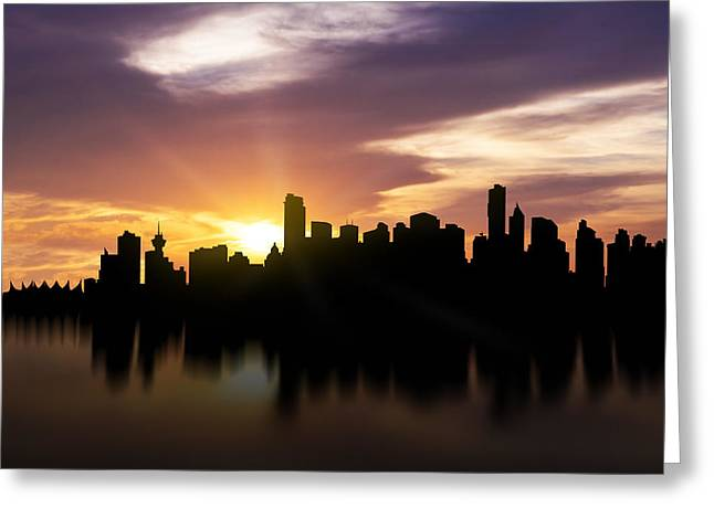 False Greeting Cards - Vancouver Sunset Skyline  Greeting Card by Aged Pixel