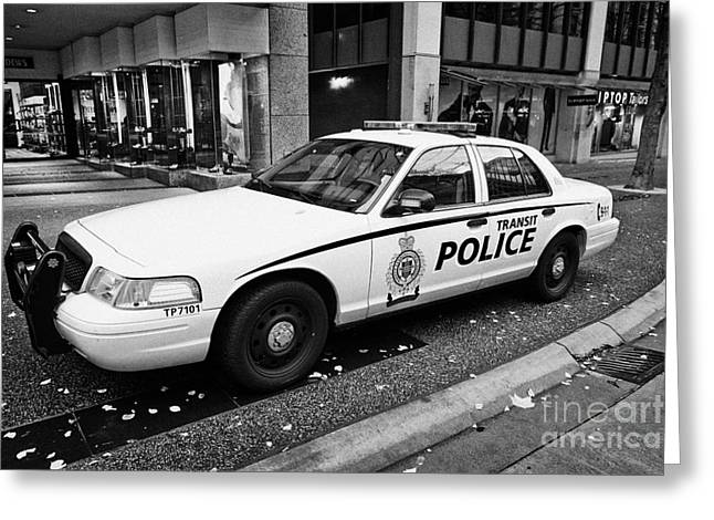 North Vancouver Greeting Cards - Vancouver transit police squad patrol car vehicle BC Canada Greeting Card by Joe Fox