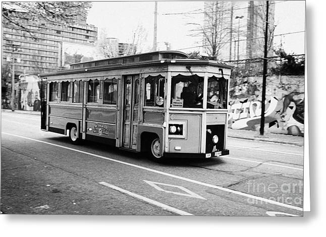 North Vancouver Greeting Cards - Vancouver trolley company hop on hop off tour private charter BC Canada Greeting Card by Joe Fox