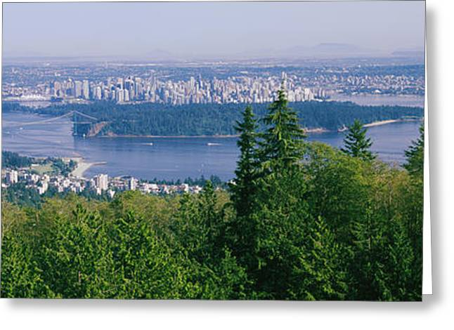 British Columbia Greeting Cards - Vancouver Viewed From From A Far Greeting Card by Panoramic Images