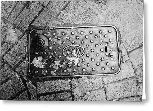 Drain Greeting Cards - Vancouver water works street drainage access plate made by mclean and powell iron works BC Canada Greeting Card by Joe Fox