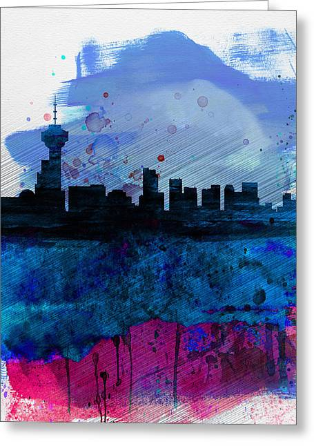 Vancouver Greeting Cards - Vancouver Watercolor Skyline Greeting Card by Naxart Studio